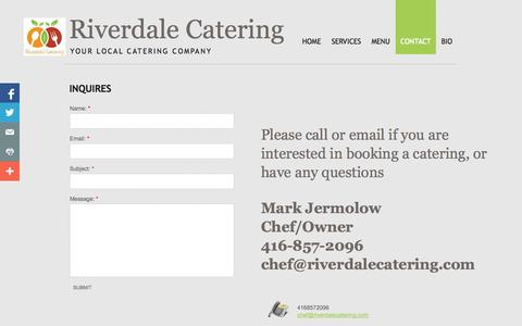 Screenshot of Privacy Page Contact Page riverdalecatering.com - Contact- Riverdale Catering Toronto - captured Oct. 26, 2014