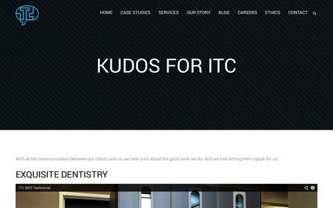 Screenshot of Testimonials Page itcfirm.com - Kudos   ITC - captured Oct. 23, 2014