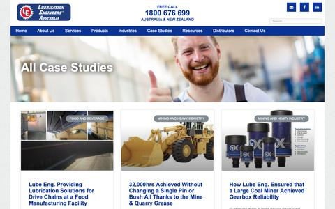 Screenshot of Case Studies Page lubeng.com.au - Case Studies Archive - Lubrication Engineers - captured Dec. 16, 2018