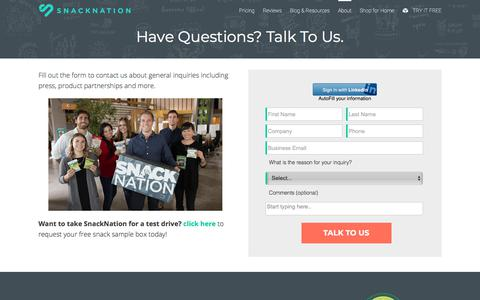 Screenshot of Contact Page snacknation.com - Contact | SnackNation - captured May 10, 2018