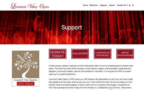 Screenshot of Support Page livermorevalleyopera.com - Stand with Livermore Valley Opera and Support Our Continued Work - captured July 21, 2018
