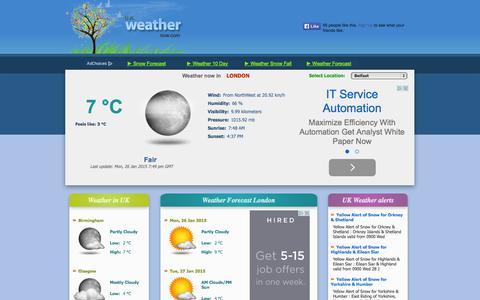 Screenshot of Home Page ukweathernow.com - London UK weather now January February 2015 snow forecast - captured Jan. 26, 2015