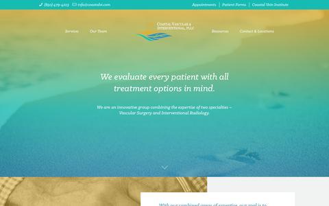Screenshot of Services Page coastalvi.com - Services – Coastal Vascular & Interventional - captured Sept. 28, 2018