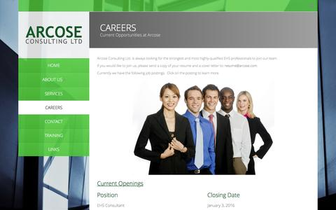 Screenshot of Jobs Page arcose.com - Careers | Arcose Consulting - EHS - captured Feb. 6, 2016