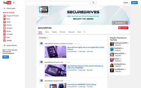 Screenshot of YouTube Page youtube.com - securedrives  - YouTube - captured Oct. 22, 2014