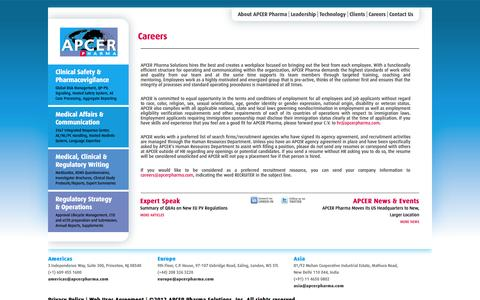 Screenshot of Jobs Page apcerpharma.com - Careers | APCER - captured Sept. 30, 2014