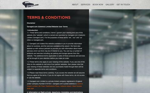 Screenshot of Terms Page garaged.com - Terms and Conditions   Welcome to Garaged.comWelcome to Garaged.com - captured Oct. 2, 2014