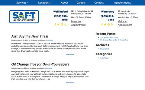 Screenshot of Blog saftauto.com - Blog in Waterbury, CT | SAF-T Auto Services - captured Jan. 15, 2020