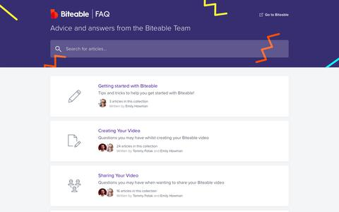 Screenshot of FAQ Page biteable.com - Biteable - Help Center - captured Sept. 26, 2019