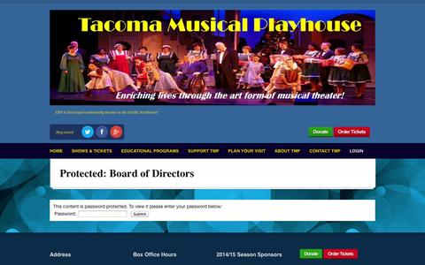 Screenshot of Login Page tmp.org - Board of Directors | TMP: Tacoma Musical Playhouse - captured Oct. 9, 2014