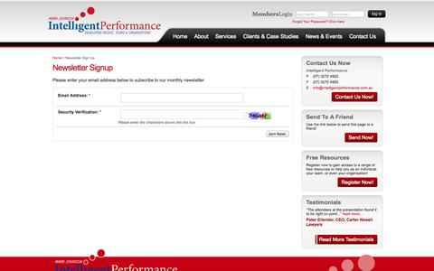 Screenshot of Signup Page intelligentperformance.com.au - Intelligent Performance - Newsletter Sign Up - captured Sept. 30, 2014