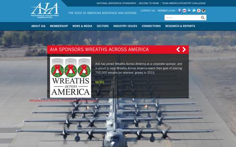 Screenshot of Home Page aia-aerospace.org - Aerospace Industries Association - captured Feb. 5, 2016