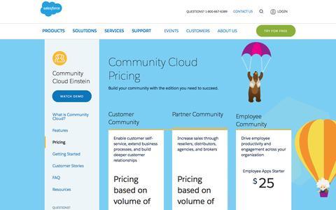 Screenshot of Pricing Page salesforce.com - Community Cloud: Salesforce Community Pricing - Salesforce.com - captured March 9, 2017