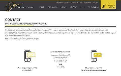 Screenshot of Contact Page directeurennetwerk.nl - Contact - Directeuren Netwerk - captured Oct. 12, 2017