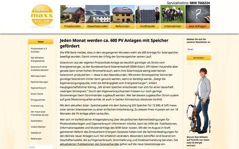 Screenshot of Press Page sonnenkonto24.de - News « Photovoltaik in Thüringen – maxx – solar & energie - captured Oct. 27, 2014