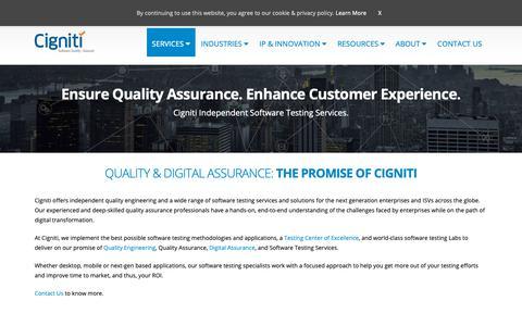 Screenshot of Services Page cigniti.com - Software Quality Assurance and Testing Services   Cigniti Technologies - captured April 10, 2019