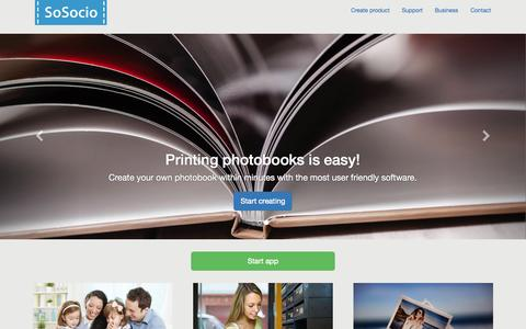Screenshot of Home Page sosocio.com - SoSocio :: Create photo products from your browser! - captured Aug. 11, 2015