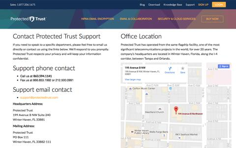 Screenshot of Support Page protectedtrust.com - Contact Support | Protected Trust - captured Aug. 27, 2016