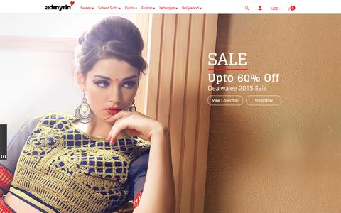 Screenshot of Home Page admyrin.com - Shop Online for Sarees, Salwar Suits, Lehengas, Kurtis, Fusion, Skirts - captured Oct. 14, 2015