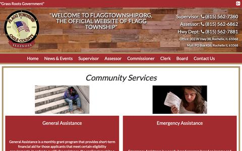 Screenshot of Services Page flaggtownship.org - Community Services | Flagg Township - captured Oct. 29, 2018