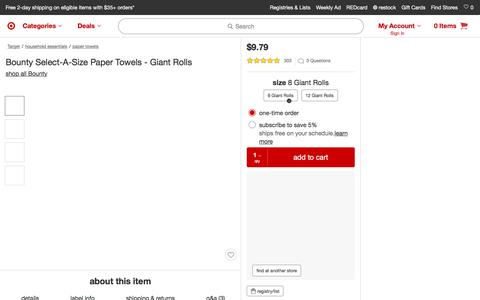 Bounty Select-a-Size Paper Towels - 8 Giant Rolls : Target
