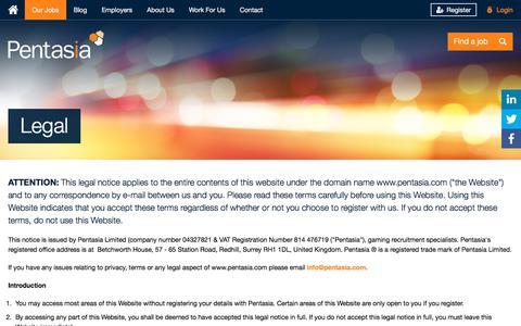 Screenshot of Terms Page pentasia.com - Legal | Pentasia - captured July 17, 2018