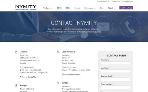 Screenshot of Contact Page nymity.com - Contact Nymity - captured Aug. 15, 2019