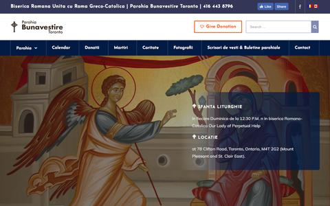 Screenshot of Home Page bunavestire.org - Annunciation Byzantine Romanian Catholic Mission – Bunavestire Toronto - captured Oct. 8, 2017