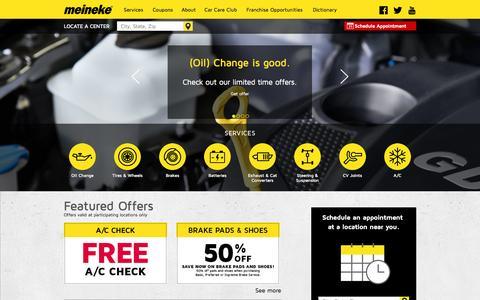 Screenshot of Home Page meineke.com - Meineke Car Care | Auto Repair | Oil Change | Tires | Brakes | Exhaust - captured Sept. 24, 2014