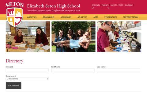 Screenshot of Contact Page setonhs.org - Directory - Elizabeth Seton - captured Nov. 5, 2016
