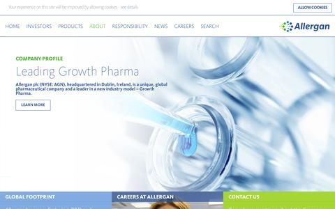 Screenshot of About Page allergan.com - About Allergan - NYSE:AGN - Leading Growth Pharma - Allergan - captured Oct. 3, 2015
