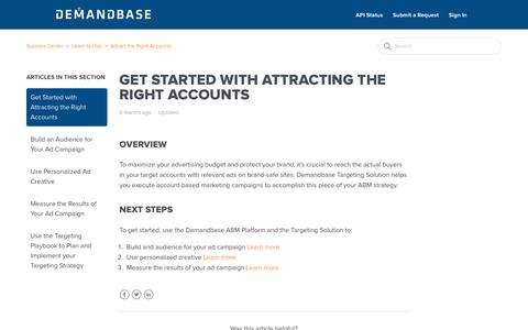 Screenshot of Support Page demandbase.com - Get Started with Attracting the Right Accounts – Success Center - captured Nov. 6, 2019