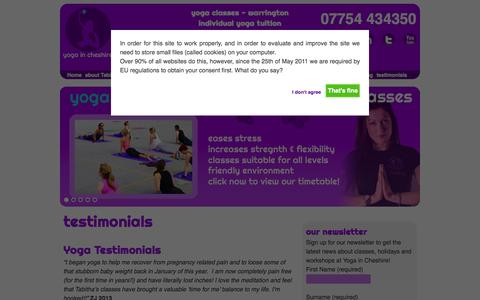Screenshot of Testimonials Page yogaincheshire.com - Yoga in Cheshire, Warrington - captured Oct. 9, 2014