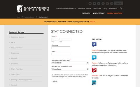 Screenshot of Signup Page salamanderdesigns.com - Write a Review | Stay Connected - Salamander Designs - captured July 27, 2018