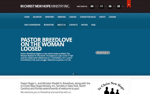 Screenshot of About Page icnhm.org - About Us » In Christ New Hope Ministry, Inc. - captured Nov. 3, 2014