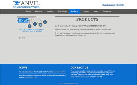 Screenshot of Products Page anvil-semi.co.uk - Anvil Semiconductors - 3C-SiC (silicon carbide) products - captured Sept. 13, 2014