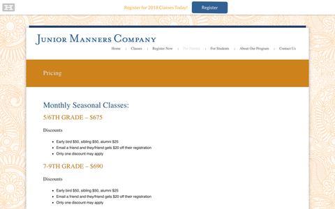 Screenshot of Pricing Page polite.com - Junior Manners Company |  Pricing - Junior Manners Company - captured Oct. 14, 2018