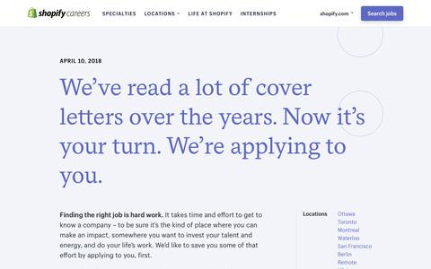 Screenshot of Jobs Page shopify.com - Careers and Jobs at Shopify - captured April 11, 2018