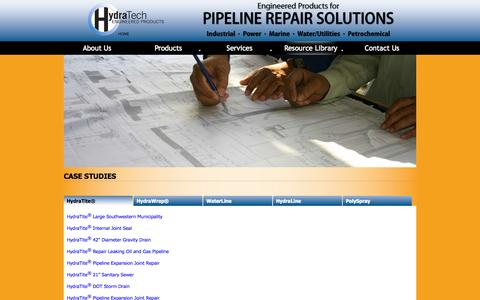 Screenshot of Case Studies Page hydratechllc.com - Pipeline Repair Solutions | HydraTech Engineered Products | Case Studies - captured Oct. 3, 2014