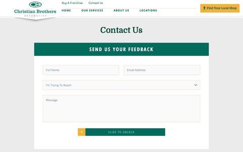 Screenshot of Contact Page cbac.com - Contact Us | Christian Brothers Automotive - captured April 19, 2017