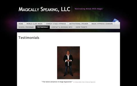 Screenshot of Testimonials Page wordpress.com - Testimonials | Magically Speaking, LLC - captured Sept. 12, 2014