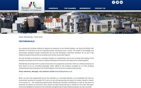 Screenshot of Testimonials Page britishirishchamber.com - Testimonials : British Irish Chamber of Commerce - captured Oct. 5, 2014