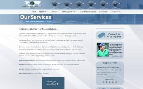 Screenshot of Services Page gfcadvice.com - Global Financial Consultants » Our Services - captured Nov. 1, 2014