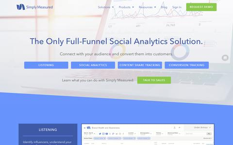 Screenshot of Products Page simplymeasured.com - The Complete Social Analytics Solution | Simply Measured - captured Jan. 12, 2018