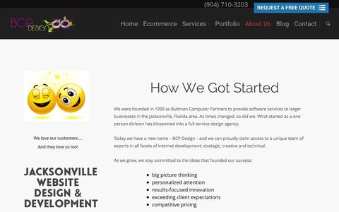 Screenshot of About Page bcp-design.com - Affordable Small Business Web Site Design Services in Jacksonville Florida - captured Feb. 2, 2016