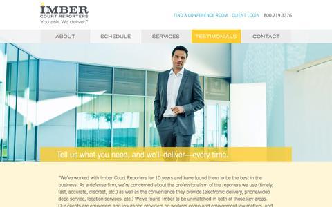 Screenshot of Testimonials Page imbercourtreporters.com - Client Testimonials | Imber Court Reporters - captured Jan. 8, 2016