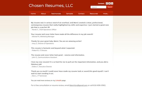 Screenshot of Testimonials Page chosenresumes.com - Read why Chosen Resumes is the right company to choose! - Chosen Resumes, LLC - captured Sept. 28, 2018