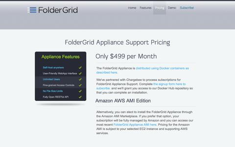 Screenshot of Pricing Page foldergrid.com - FolderGrid Appliance Support Pricing - captured Nov. 16, 2016
