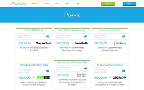 Screenshot of Press Page azuqua.com - Articles and Press Releases | Azuqua - captured Sept. 12, 2014