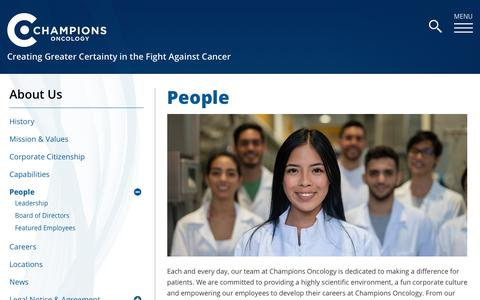 Screenshot of Team Page championsoncology.com - People - captured Feb. 21, 2020